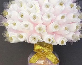 Baby shower centerpiece etsy for Pink diaper bouquet