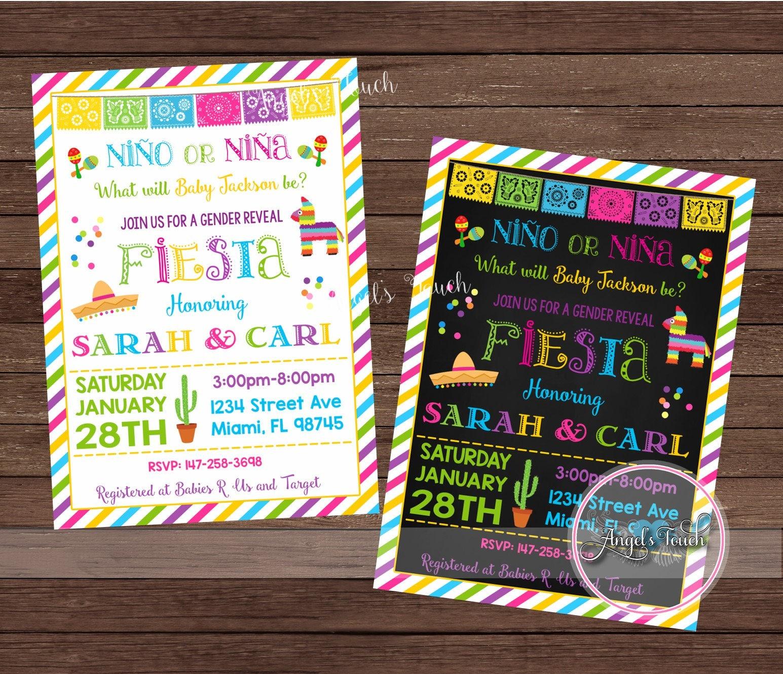 Gender Reveal Invitation, Fiesta Gender Reveal Party Invitation ...