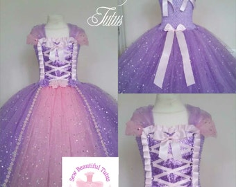 Rapunzel Tower Princess Sparkle Ball Gown Girl tutu dress - Fun Party Outfit Fancy Cute Birthday