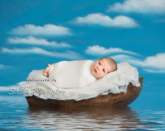 Digital backdrop background baby boy or girl boat blue  nautical sea fairy tail