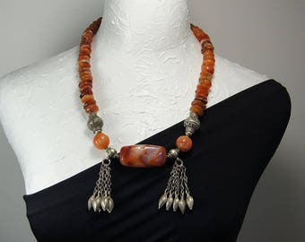Old Afghan Carnelian Statement Necklace E 010