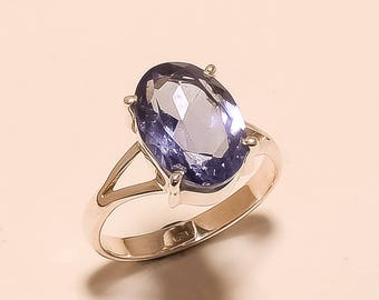 Tanzanite Oval Ring Size 9 Blue Tanzanite Ring Faceted Ring Sterling Silver Ring Tanzanite Gemstone Ring 925 Solid Sterling Silver Ring E830