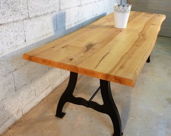Table base cast iron metal wood