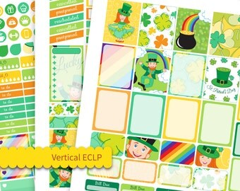 Printable Planner Stickers use with Erin Condren LifePlanner ™ Weekly planner 2018 March Weekly Kit St Patricks Day ECLP Weekly Vertical
