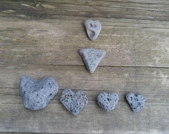 Natural Lava Rock Hearts