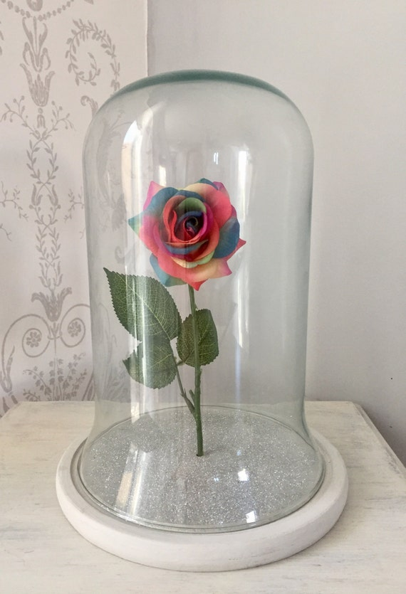 rainbow rose glass dome belle jar cloche. Black Bedroom Furniture Sets. Home Design Ideas