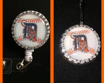 Detroit Tigers Badge Reel-MLB Badge Reel-rotating clip badge reel-Detroit Tigers zipper pulls