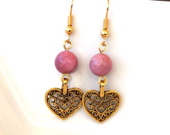 Rhodochrosite earrings - Heart earrings - Gemstone earrings - Gold plated hooks - heart jewelry - romantic earrings - gifts for her