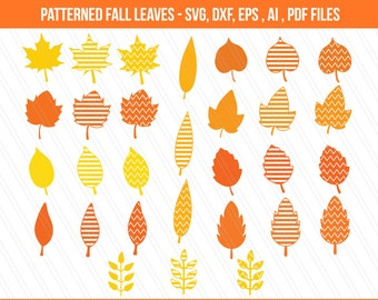 Autumn Fall leaves SVG, Fall leaves clipart ,patterned leaves, cricut, Leaves cut files, digital download, Leaves vector- EPS,Dxf,SVG,Ai,Pdf
