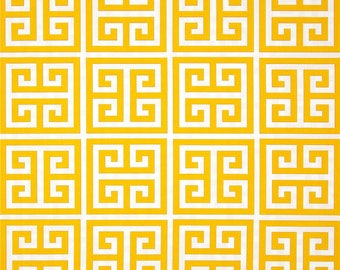 Yellow Outdoor Pillow Cover, Yellow and White Pillow, Greek Key Pillow, Fretwork, Lattice, Throw Pillow, Modern, Pool, SummerHome