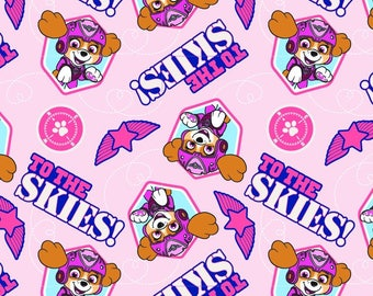"""Paw Patrol Pup to the Skies Pink 43"""" wide 100% cotton premium quilting fabric, DA7"""