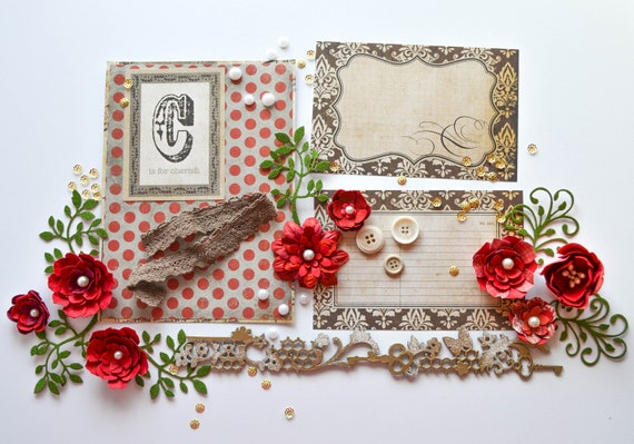Romantic red scrapbooking layout kit, available on Etsy at dearzae.etsy.com - featuring handmade red roses and flowers and cork die cuts with Blue Fern Studios heat embossed chipboard