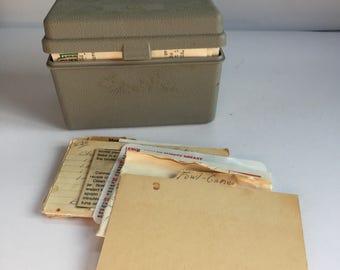 Gray Recipe Box - Old Recipes - Recipe Storage - Kitchen Organization - Recipe Card Holder - Vintage Kitchen Decor - Vintage Recipes in Box
