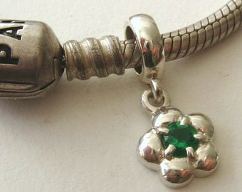 925 Sterling Silver Bead with DAISY EMERALD DROP