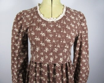 70s LAURA ASHLEY Made in Wales Cherry Blossom Dress, Jane Austen, Prairie, Boho, Festival-Uk 8