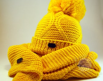 Yellow hat, yellow scarf, wool hat, handmade hat, handknitted hat, Christmas hat, handmade scarf, handknitted scarf