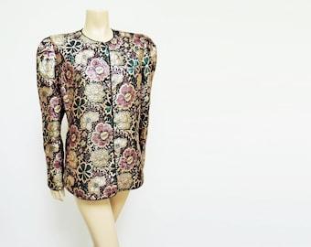 UK16, 1980s Vintage Gold Jacket, Eveningwear, Clothing, Glamour, Boho, Prom, Vintage Clothing, Ladies Jacket, Box Jacket