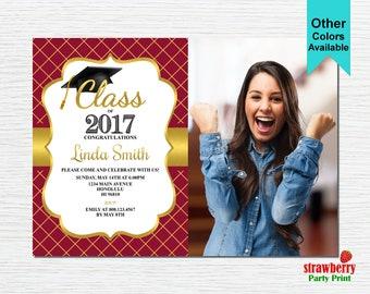 Graduation Party Invitation, Graduation Invitation, 2017 Grad, College Graduation, Red & Gold, Printable Invitation G12