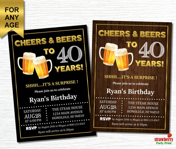 Cheers and Beers to 40 years Surprise 40th Birthday – Beer Party Invitations