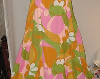 Vintage Mod Fashions Mod Groovy Cool Maxi Dress Lounge Wear fashions of hawaii honolulu