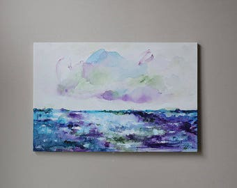 24x36 inch-abstract art,seascape,wall decor, original painting ,landscape painting,Violet,purple,blue,Acrylic painting