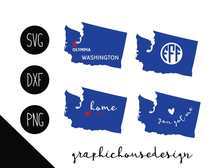 Washington svg, Washington state cutting file, Washington clipart, Washington monogram frame, american states svg, silhouette cameo, cricut