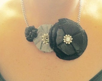 Black and Gray Flower Necklace