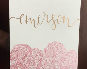 Hand-painted canvas | Nursery Decor | Name on Canvas | Hand-lettered | Calligraphy | Modern Calligraphy | Embossing