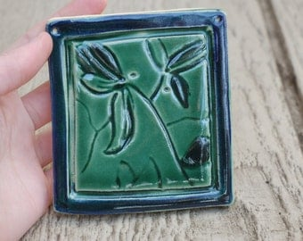 Small Green Floral Pottery Tile