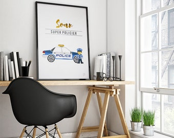 Poster trades: Police officer/first - customizable - gilding - color-decoration - child - room