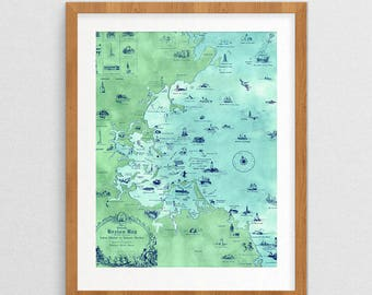 Boston Bay Map- Vintage Decor- Vintage Gifts- Map Gifts- Prints for Decor- Map Art- Boston Art- Eclectic- Massachusetts -Coastal- Design