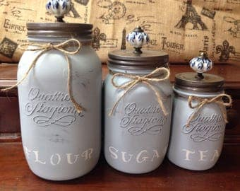 Rustic Kitchen Canisters, Mason Jars Canisters with knobs, Glass baking storage, Customized pantry, Coffee canisters