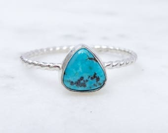 Turquoise Stacking Ring // Sterling Silver Ring // Natural Chinese Turquoise // Gemstone Ring