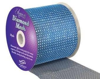 Diamante Effect  Cake Mesh Ribbon – Blue x 1m