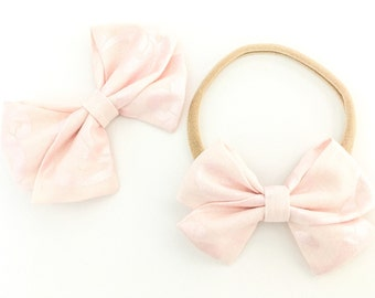 Signature Bow in Baby Pink Shimmer - Girls Fabric Bow - Baby Girl Headband - Toddler Bow - Baby bow - Choose Nylon Headband or Clip