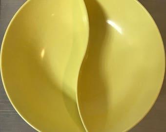 Vintage Marcrest Melmac Serving Divided Bowl Yellow