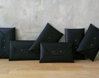 Set of black bridesmaids leather clutches / Black envelope clutch / Leather clutch bag / Genuine leather / Bridal clutch / Bridesmaid gift