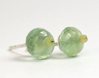 Ear plug serpentine gemstone green 925 Silver unique fresh design jewelry hand made in Germany