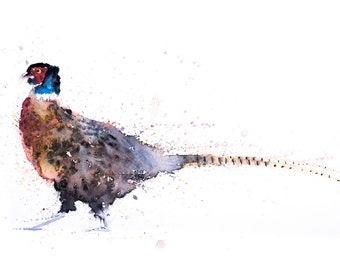 Hen Picked - Signed Print of my original watercolour painting of a Pheasant