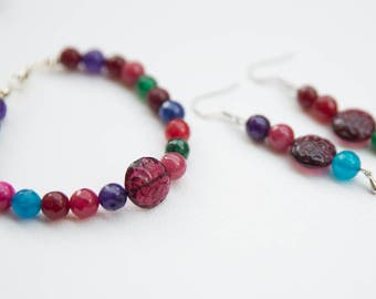 Colored stones bracelet and earrings set  - retro inspiration