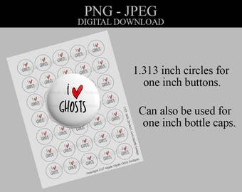 I Heart - Ghosts - Commercial License - 1.313 Inch Circles - Bottlecap Images - Digital Collage Sheet - Printable Sheet - Button Images