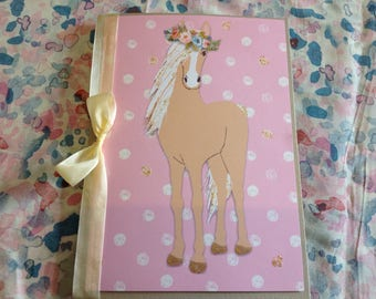Birthday card with Palomino Horse with flowercrown