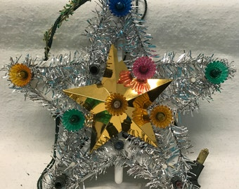 Vintage Tinsel and Light Tree Top Star