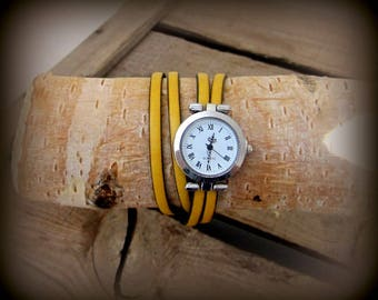 Watch leather strap yellow, 2 rounds of wrist, clasp plate 10MM loving money