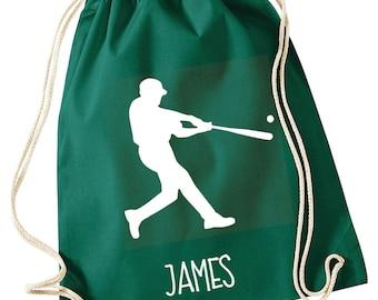 Personalised Boy's Drawstring Bag Baseball Bag Backpack Sports Bag Cotton PE Bag Gymsack Baseball Fan