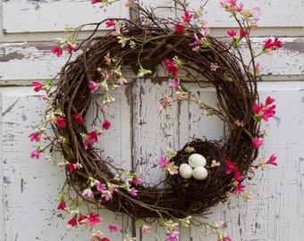 Cherry Blossom Wreath, Spring Wreath, Nest Wreath, Natural Wreath, Door Wreath, Romantic Wreath, Cottage Chic