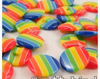 5 x Rainbow Buttons - 13.5 mm sewing supplies- UK