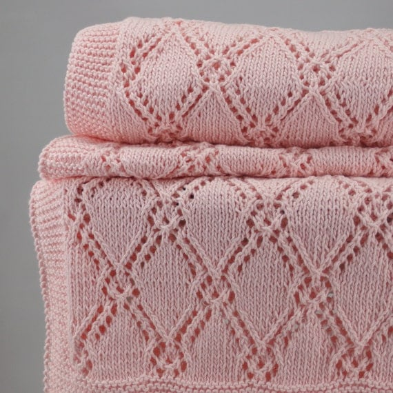 Knitting Pattern For Cellular Blanket : Hand knit pink baby blanket diamond pattern cellular
