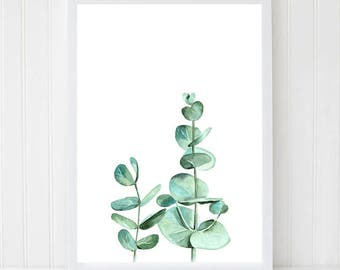 Watercolor Leaves, Eucalyptus Branch, Leaf Print, Eucalyptus Leaves, Botanical Illustration, Scandinavian Decor, Kitchen Art, Nature Print.