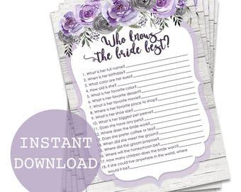 Who Knows the Bride Best Printable Games, Printable Bridal Shower Games, Purple Floral Bridal Shower Games, How Well Do You Know the Bride